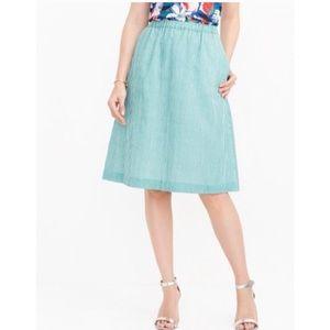 JCrew Green & White Gingham Skirt